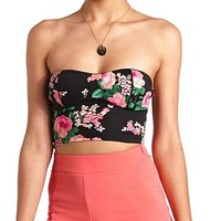 Strapless Floral Print Bustier Top