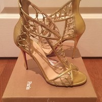 Christian Louboutin MARTHA Gold Leather Cutout Sandals Size 41.5
