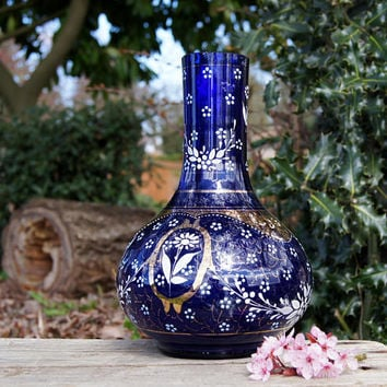 Cobalt Blue Bohemian Glass Hand Painted Vase