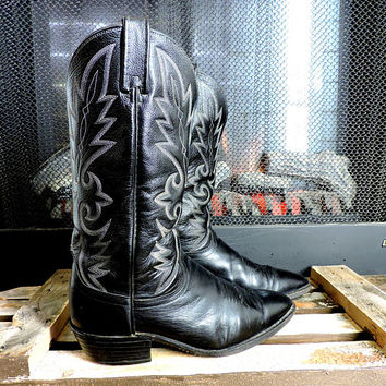 Dan Post Boots / size 9.5 E mens / vintage Dan post cowboy boots / tall black leather cowboy boots / tooled leather western boots