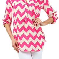 **3 COLORS** Chevron Zig Zag Stripe 3/4 Sleeve Half Button Top Shirt Blouse