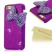 Mavis's Diary for Iphone 5C Crystal Deep Purple Bow Diamond Bling Deep Purple Hard Cover Case with Soft Clean Cloth