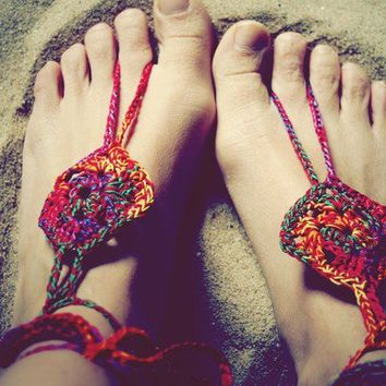 Handmade Bohemian Crochet Barefoot Sandals/Foot by Cloud9Jewels