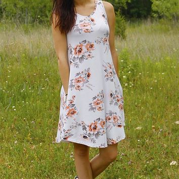 Floral Pocket Dress - Ivory