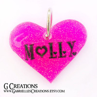 Pink Heart Dog Tag 3.8cm - Custom Glitter color and Glow in the DARK
