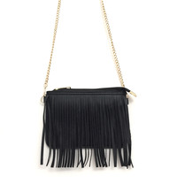 Fringing Around Crossbody Bag in Black