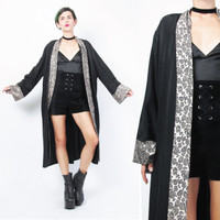80s 90s Black Robe Draped Jacket