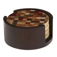 Thirstystone 4-pc. Mosaic Pattern Coaster Set with Holder (Walnut)