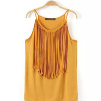 Fashion Fringed Cotton Halter Top