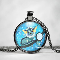 Vaporeon Pokeball Pendant,Vaporeon Necklace, Pokemon in Pokeball necklace, Pokemon Go,pokemon necklace,pokeball necklace, anime, pokeball