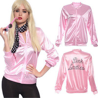 Halloween Pink Lady Retro Jacket Womens Fancy Dress Grease Costume Cosplay Cheerleader A