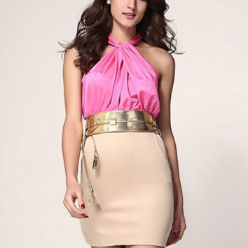 Halter Back Slit Belted Bodycon Mini Dress