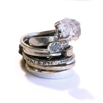 RING with Diamond crystal Sterling Silver Hammered by GGoriginal
