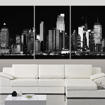 Large Wall Art Canvas Print New York City Landscape Black And Wh