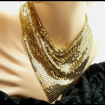 Gold Chainmaille Bib Necklace, Metal Cowl Necklace, Gold Mesh 1970s Disco Jewelry, Wedding Party, New Years Eve Glam, Hostess Gift For Her
