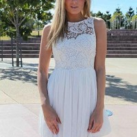 White Dress with Sheer Lace Top & Tulle Pleated Skirt