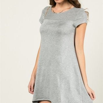 Casual T-Shirt Dress - Heather Grey