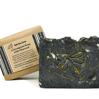 Lemongrass Soap with Charcoal, Essential Oil Soap, Charcoal Soap, Handmade Soap, Vegan Soap, Gift under 10