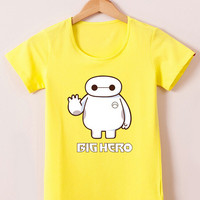 Yellow Big Hero 6 Cartoon Print Short Sleeve Graphic Tee