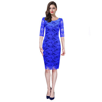 New Arrival Knee Length Party Dress with Sleeves Straight Pencil Dress Wear To Work Lace Cocktail Dresses 2017 Berydress Gown