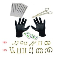 29Pcs Body Piercing Tool Set Kit Needle Forceps Tongue Eyebrow Nose Lip Ring Tongue Piercing Needles For Body Piercing Jewelry