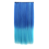 Hot Sale Beauty Sexy Hot Deal On Sale Wigs Blue Gradient Straight Hair Ladies Hair Extensions [4923177476]