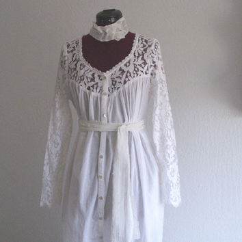 Rustic Wedding Dress/ French Country lace and Cotton Dress/ Edwardian Inspired Dress