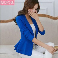2016 Fashion Hot  New women blazers and jackets long-sleeve slim blazer ruffle short blazer design candy color Outerwear & Coats