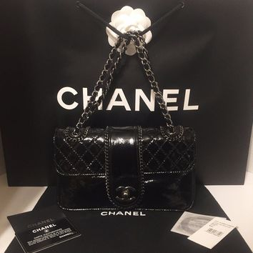 CHANEL Classic Bag with Flap Chain Trim Black Patient Leather Hand Bag Authentic