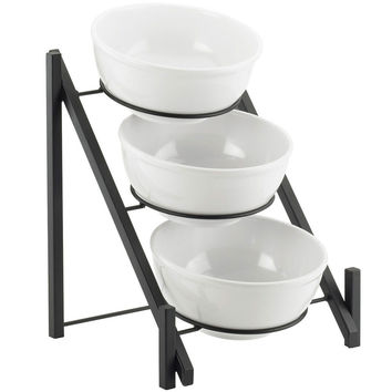 14.5W x 14.375D x 17.875H One by One 3 Tier Bowl Display Black