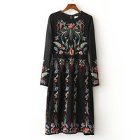 Black Flower Embroidery Long Dress