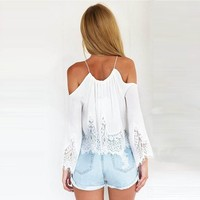Womens Lace Off Shoulder T Shirt Long Sleeve Chiffon Crop Tops Blouse