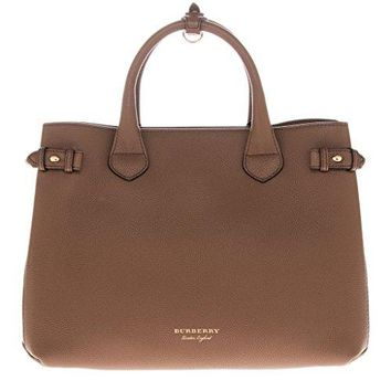 Burberry Women's The Medium Banner in Leather and House Check Tan Tan