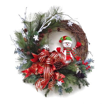 Christmas Wreath for Door, Snowman Wreath, Holiday Wreath,Winter Wreath,Snowflake,Outdoor Christmas Wreath,Front Door Decor,Grapevine,Red