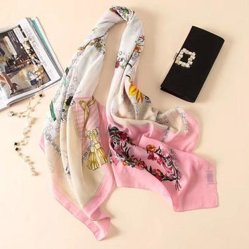 """Gucci"" Temperament Fashion Multicolor GG Flower Pattern Print Scarves Women Silk Scarf Shawl"