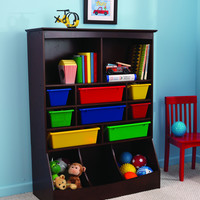 KidKraft Wall Storage Unit Espresso with plastic bins - 14982