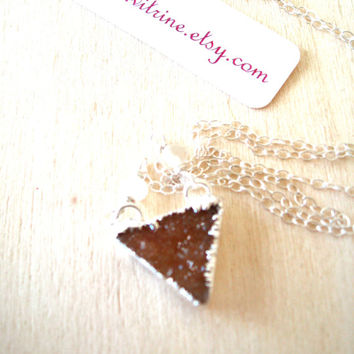 HOLIDAY SALE Brandy cognac Triangle druzy necklace Sterling Silver Moonstone gemstone Vitrine Gift for her under 55