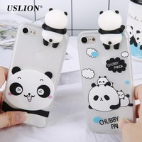 USLION Clear TPU Back Cover Case For iPhone 7 6 6s Plus Cute Cartoon 3D Panda Pattern Phone Cases For iPhone 6 Coque Fundas