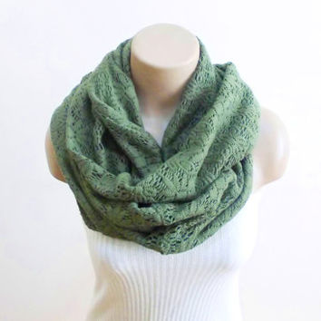 Cotton Infinity Scarf Green Loop Scarf Knitting Winter Scarf Ascot Neck Warmer Thick Warm Scarf Circle Scarf Women's Fashion Accessories