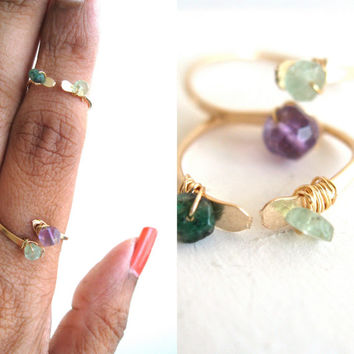 Double Gemstone Midi knuckle open ring Adjustable Pastel Amethyst Emerald Midi Ring Vitrine