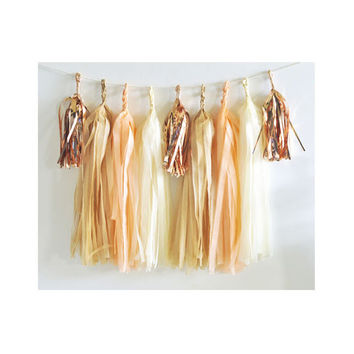 Paper Garland & Metallic Mini Tassels - 20 Tassel DIY Kit - Peach Sand Ivory Rose Gold Foil - Wedding Decor Party Bridal Shower Birthday