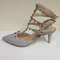 Christian Louboutin Fashion Edgy Pointed Rivets Heels Shoes