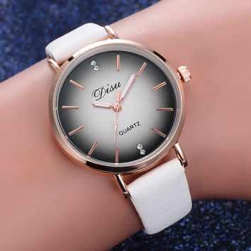 Women Rose Gold Dial Quartz-Watch Luxury brand ladies Casual Wristwatch Leather Strap dress Watch female clock hour Relojes