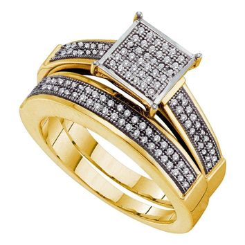 Yellow-tone Sterling Silver Women's Round Diamond Cluster Bridal Wedding Engagement Ring Band Set 1-3 Cttw - FREE Shipping (US/CAN)