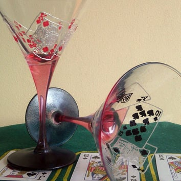 Set of 2 Hand Painted martini glasses Las Vegas poker cards game Casino Royal Flush in red and black color