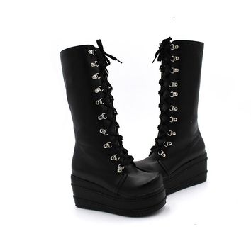 ENMAYER ShoesNew Motorcycle Boots Gothic Shoes Cosplay Boots Platform Winter Wedges Boots