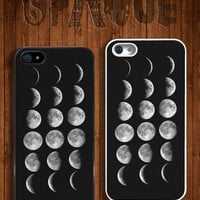 18 Moon Phases Apple iPhone 5 5s & 4 4s Durable Hard Case - In Multiple Colours - Hipster Indie Grunge Vintage Tropical Summer Tumblr