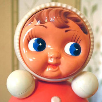 """Vintage Roly Poly Ding Doll - Nevalyashka - 40cm - 16"""" inches - Light Red - 1970s - from Russia / Soviet Union / USSR"""