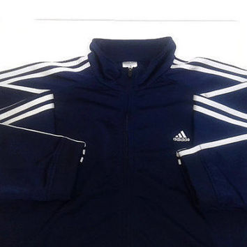 Authentic Vintage Adidas Jacket Men XL Zip-Up Navy and White Track Classic 3 Stripes Retro Jacket Light Weight Men Gift