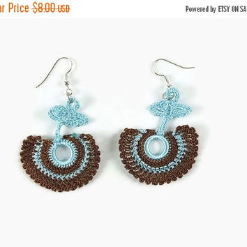 SALE 20% Brown And Blue  Dangle Earrings, Crochet Earrings  Crochet Jewelry, Fun Jewelry,  Boho Hippie Jewelry , Gift For Her
